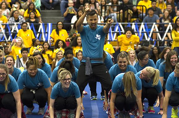 During the Rhythm Nation dance at the senior night pep rally Mr. Francis Vu leads the Petty part of the performance.