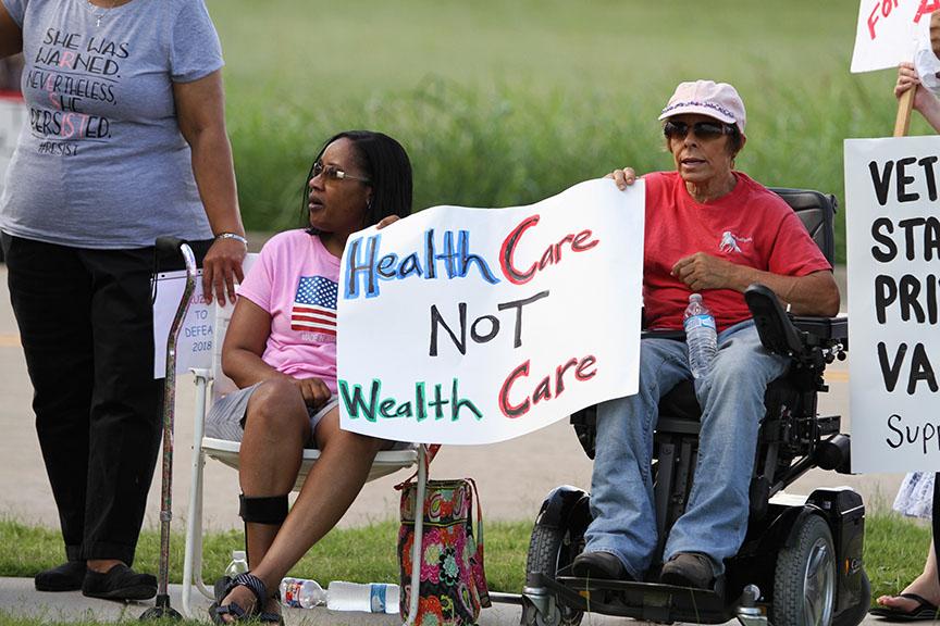 Protesters unite against Cruz outside veteran town hall