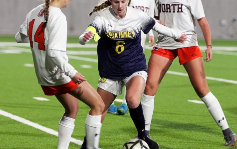 Savannah Townsend attempts to get through defense at the games against Mckinney North on Tuesday.