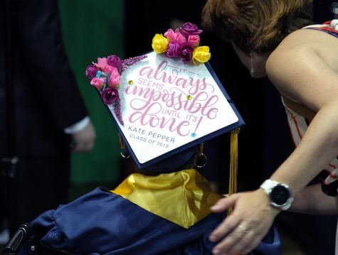 Kate Pepper decorated her cap with a meaningful quote.