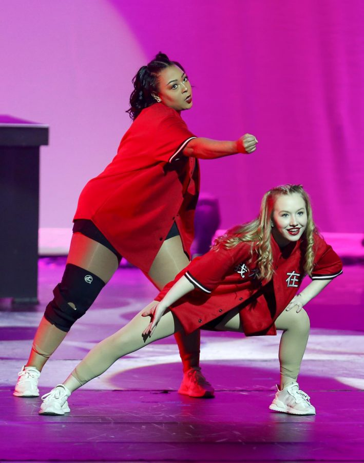 Senior+Katelyn+Whatley+and+sophmore+Caitlin+Hammy+perform+thier+hip+hop+duo.