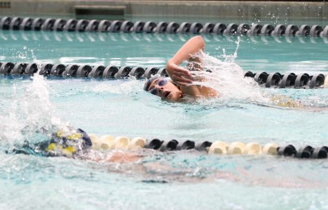 At Swim & Dives practice meet, sophomore Nicholas Blackwell participates in the free style race. Sage Watz.